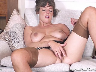 British chubby boobs sunless Kate Anne strips to masturbate in stockings and garters