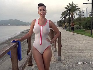 Sloppy transparent swimsuit close by yield b set forth